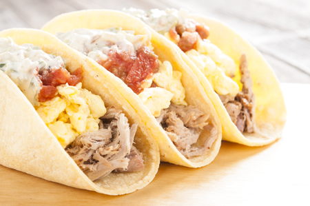 Pulled pork breakfast tacos